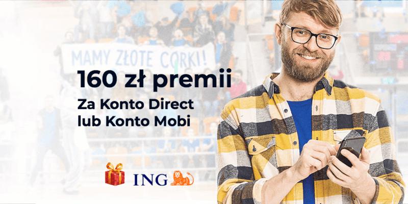 Do 160 zł za otwarcie konta Direct albo Mobi w ING Banku Śląskim
