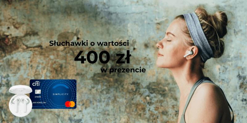 Karta kredytowa Citi Simplicity od Citibank w promocji ze słuchawkami bezprzewodowymi OPPO